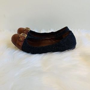 Tory Burch Grey Wool & Brown Leather Ballet Flats!